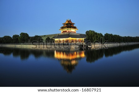 corner building of summer palace in the dusk