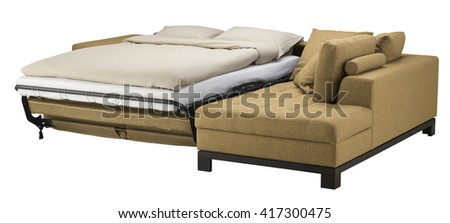 Corner couch bed isolated on white. Include clipping path