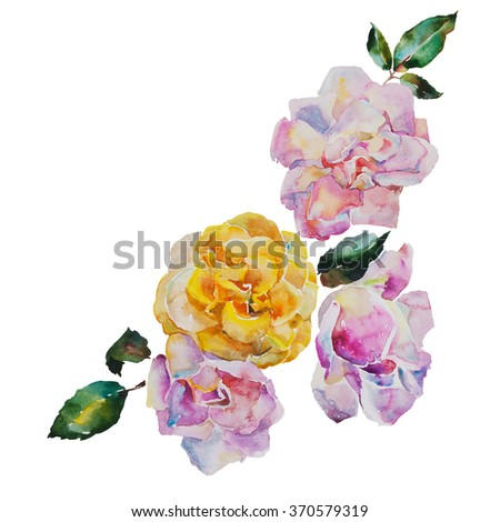 Corner design bouquet of yellow and light pink roses with leaves, corner watercolor pattern from original art - stock photo