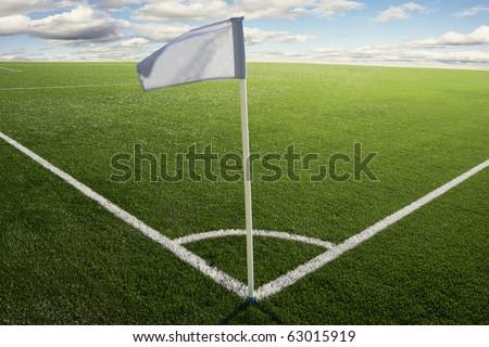 Corner flag on a soccer field - stock photo