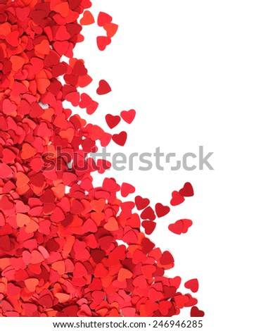 Corner frame made of paper hearts, isolated on white background, Valentines day concept