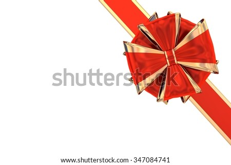 Corner gift bow and ribbon isolated on white - stock photo