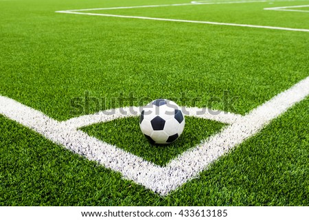 Corner kick on soccer field and soccer ball