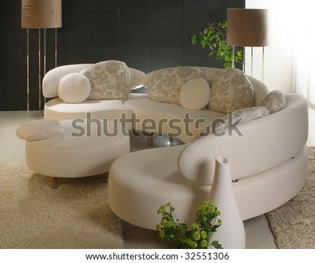 corner, lamp and pillow - stock photo