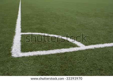 Corner lines on Soccer Field - stock photo