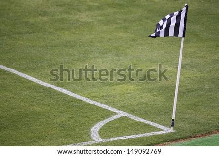 Corner mark and flag  - stock photo