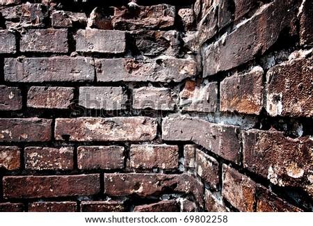 Corner of a brick wall, background - stock photo