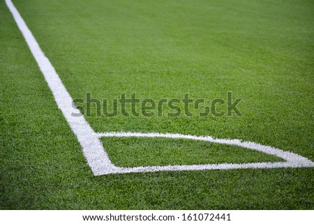 Corner of a football champ. White lines and green grass