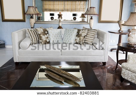 corner of a modern apartment with an oriental sofa - stock photo