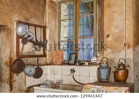 Old Kitchen Sink Corner old kitchen sink cooking tools stock photo 129461447 corner of an old kitchen with sink cooking tools and ancient jugs water retro workwithnaturefo