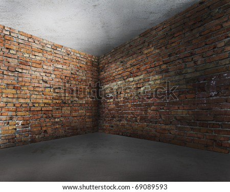 corner of old dirty interior with brick wall, empty room - stock photo