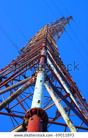 corner of pylon of High Voltage Transmission Lines.