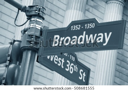Corner of the Broadway and West 36th Street sign