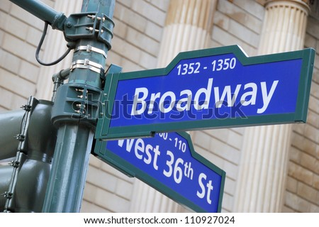 Corner of the Broadway and West 36th Street sign, New York City.