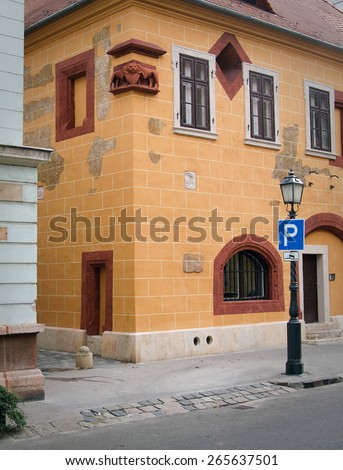 Corner of the street with stylish tenement house at Prague. - stock photo
