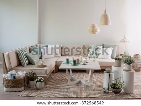 corner sofa interior pillow style - stock photo