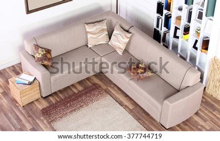 Corner sofa top view  - stock photo