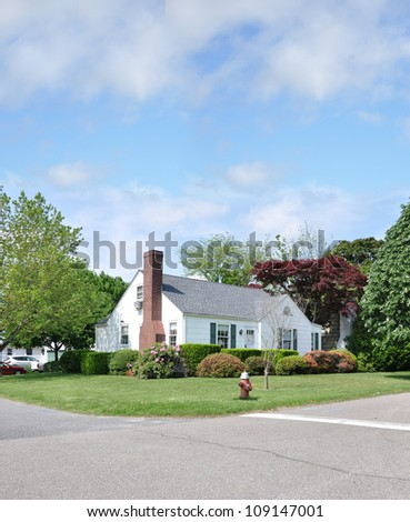 Corner Suburban Cape Cod Style Home with Red Fire Hydrant on Street Curb - stock photo