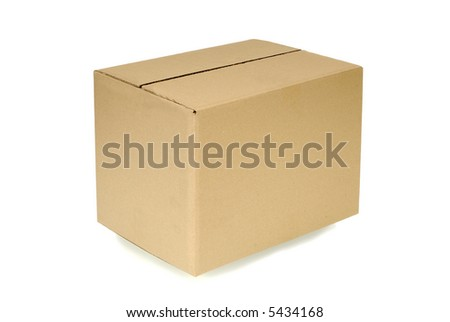 Corner view of a plain brown blank cardboard box isolated on a white background.  Space for copy.