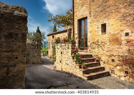 Corners of Monticchiello. - stock photo