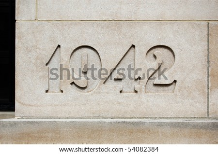 Cornerstone with year 1942 on it in light brown stone