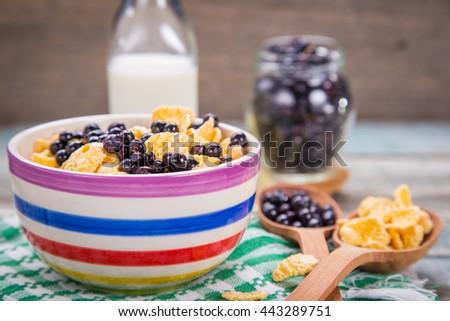 cornflake with fresh ripe bilberry and milk in crockery dish - stock photo