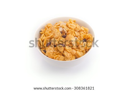cornflakes, cereal isolated on white background - stock photo