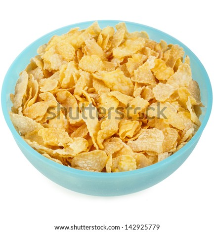 Cornflakes in the cup, isolated on a white background - stock photo