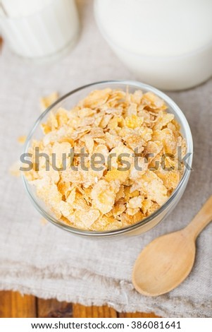 cornflakes with milk.selective focus