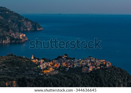Corniglia on a small promontory overlooking the sea, is the most typical and characteristic village of the Cinque Terre - stock photo