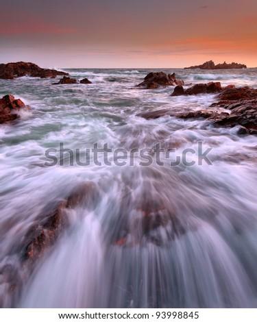 Cornish Beach, Cornwall, UK - stock photo