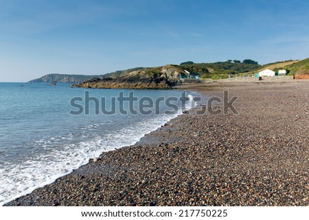 Cornish beach Kennack Sands Cornwall the Lizard Heritage coast South West England with blue sky on a sunny summer morning  - stock photo