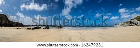 Cornish beach panoramic - stock photo