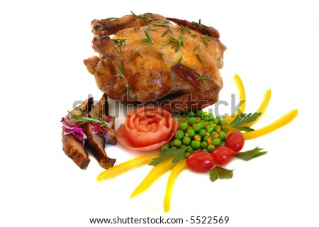 Cornish hen with herbs, portabella  mushroom, peas, tomatoes, pepper, carrots