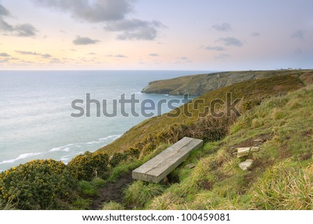 Cornish Seascape looking over the Celtic sea from the South West Coastal Path. - stock photo