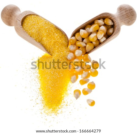 cornmeal maize flour heap and wooden scoop isolated on white background  - stock photo