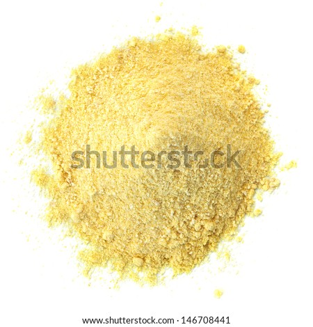 Cornmeal pile from top on white background - stock photo