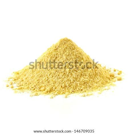 Cornmeal pile isolated on white background - stock photo