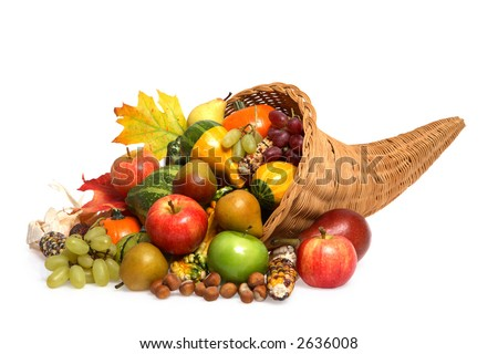 Cornucopia full of Fruits, Vegetables and Squash - stock photo