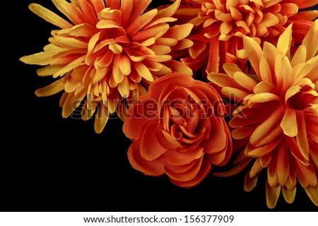 Cornucopia with flowers on black background - stock photo