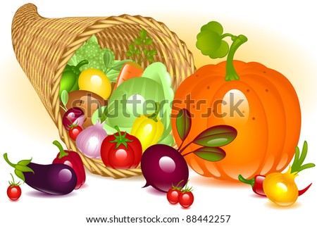 Cornucopia with pumpkin. Collection of vegetables on white background. raster version - stock photo