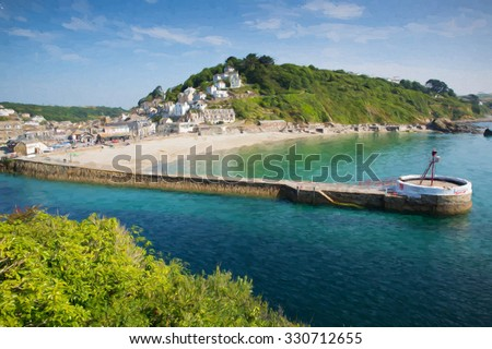 Cornwall coast Looe harbour wall in summer with blue sea and sky oil painting