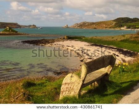 Cornwall England beach Isles of Scilly, Tresco island - stock photo