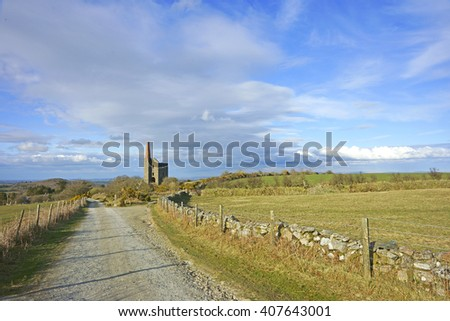 Cornwall's Industrial Heritage, warm spring evening light and a distant view of the ruins of Phoenix United Mine, Prince of Wales Engine House on Bodmin Moor, Cornwall England, UK - stock photo
