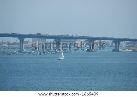 Coronado Bridge In San Diego - stock photo