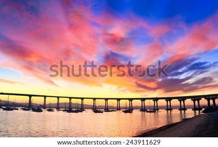 Coronado Bridge Sunrise, San Diego California, USA - stock photo