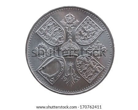 Coronation crown - commemorative 5 shillings coin (GBP) released in 1953, for the coronation of Queen Elizabeth II - stock photo