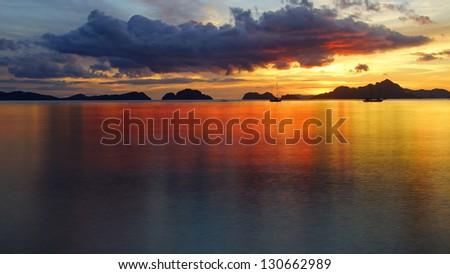 Corong corong beach during sunset. El Nido - stock photo