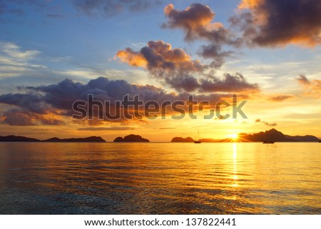 Corong corong beach during sunset. El Nido, Philippines - stock photo