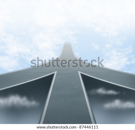 Corporate and business mergers featuring three roads merging into one focused path to a vanishing point in the sky as a concept of partnerships and teamwork with common vision and company philosophy.